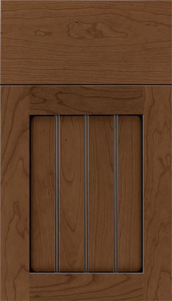 Winfield Cherry beadboard cabinet door in Toffee with Black glaze