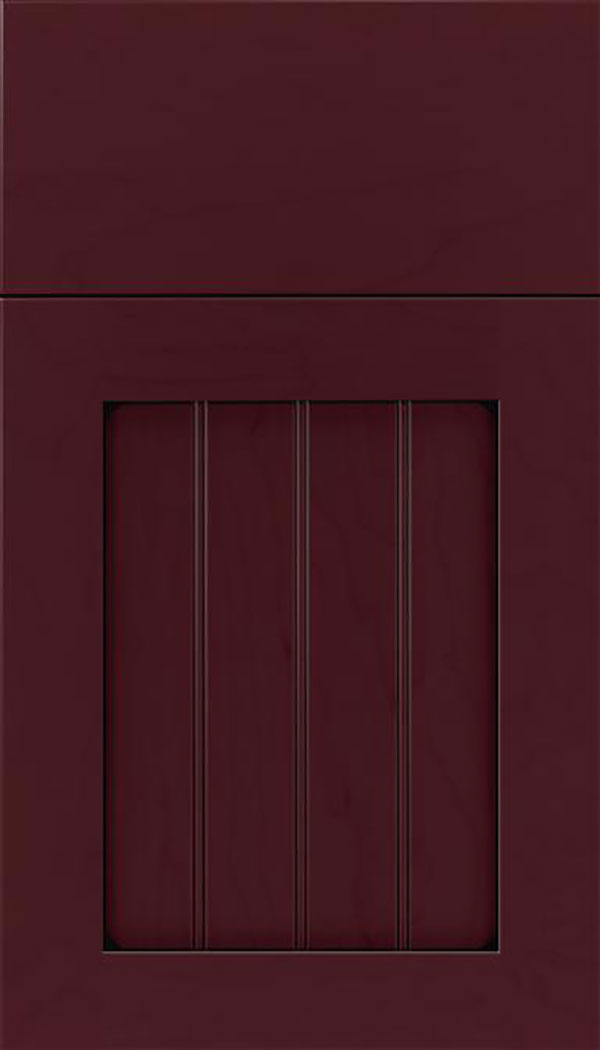 Winfield Maple beadboard cabinet door in Bordeaux with Black glaze