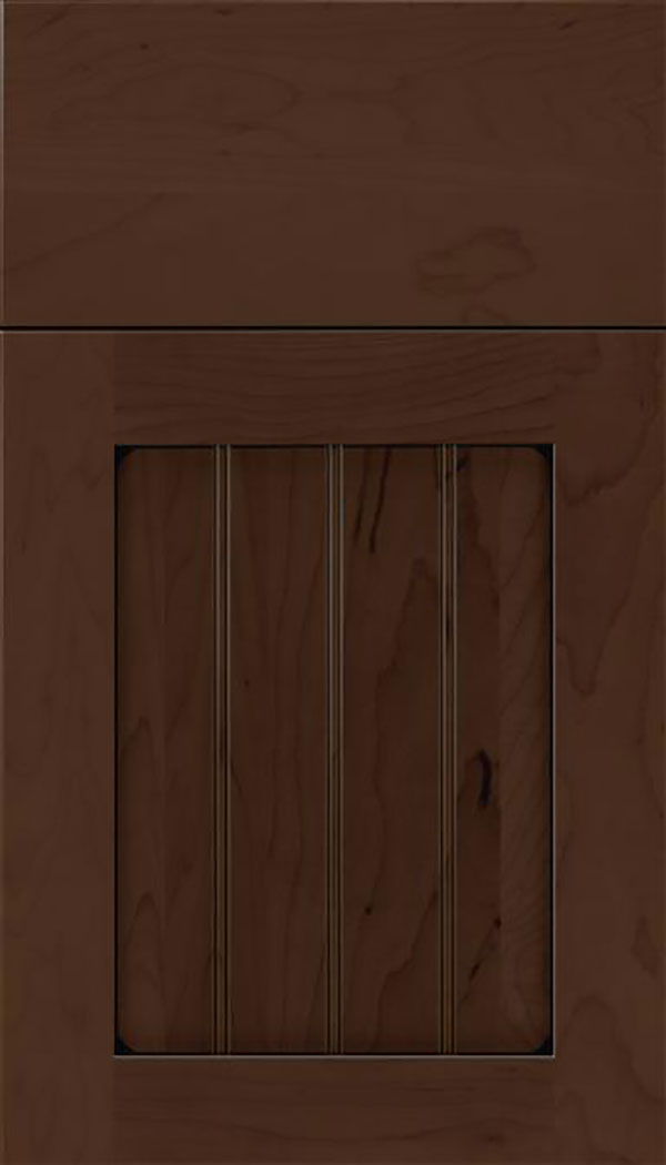 Winfield Maple beadboard cabinet door in Cappuccino with Black glaze