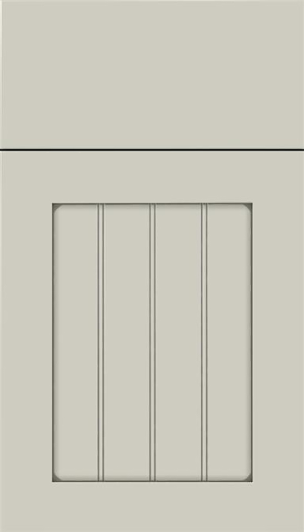 Winfield Maple beadboard cabinet door in Cirrus with Pewter glaze