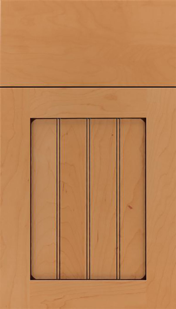Winfield Maple beadboard cabinet door in Ginger with Black glaze