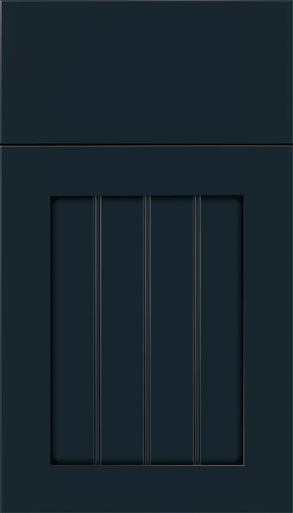 Winfield Maple beadboard cabinet door in Gunmetal Blue with Black glaze