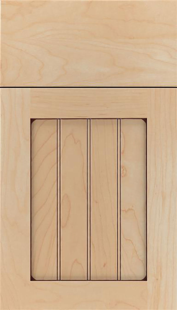 Winfield Maple beadboard cabinet door in Natural with Mocha glaze