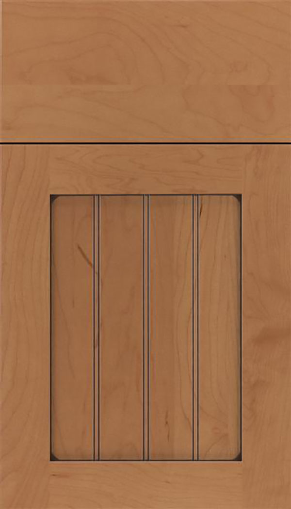 Winfield Maple beadboard cabinet door in Nutmeg with Mocha glaze