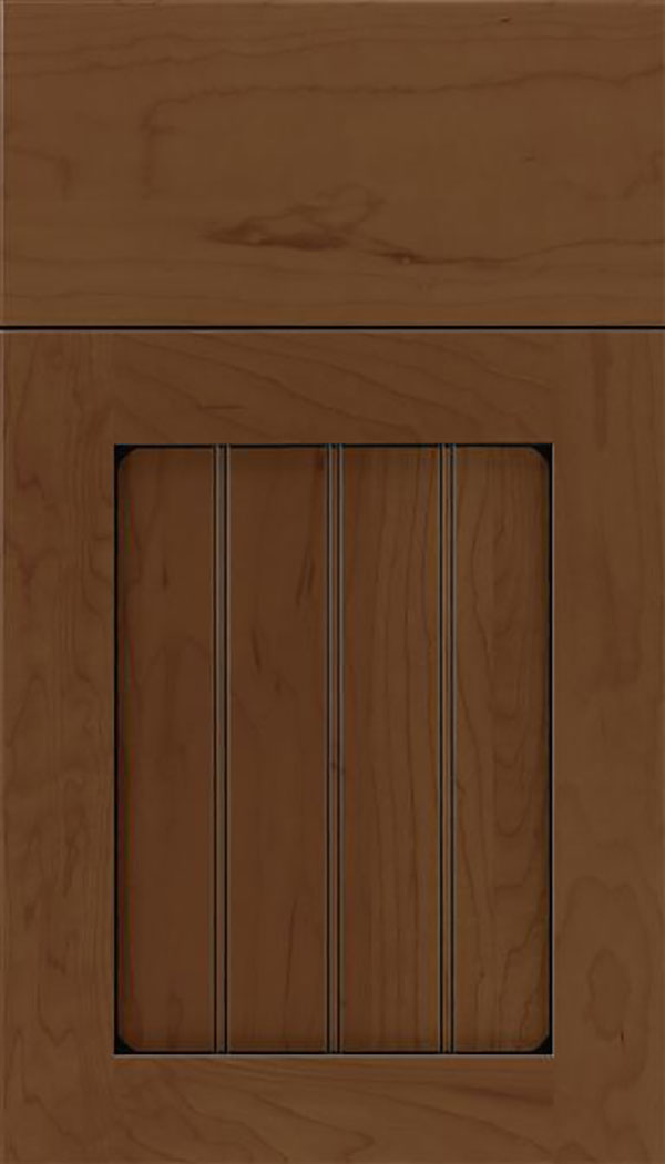 Winfield Maple beadboard cabinet door in Sienna with Black glaze