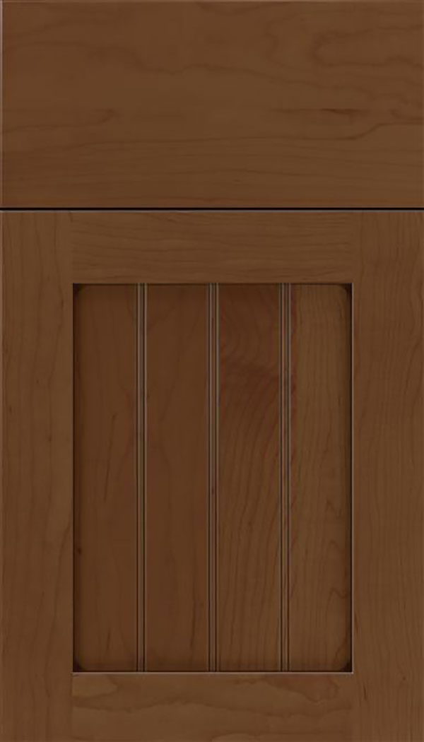 Winfield Maple beadboard cabinet door in Sienna with Mocha glaze