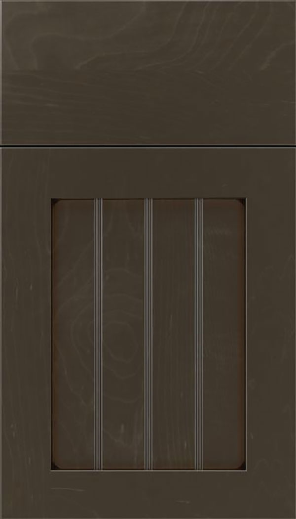 Winfield Maple beadboard cabinet door in Thunder with Black glaze