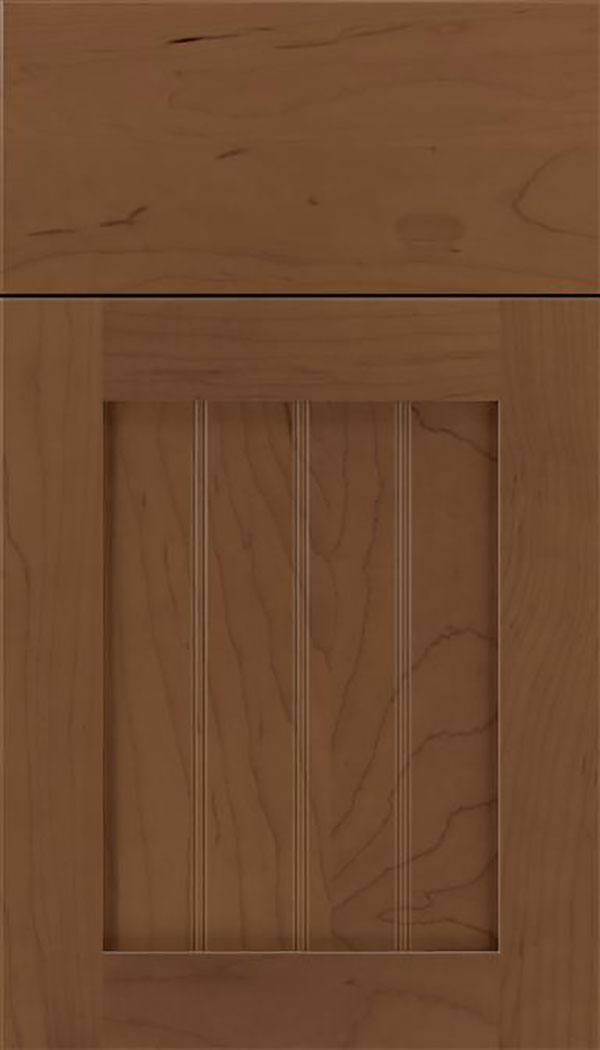 Winfield Maple beadboard cabinet door in Toffee
