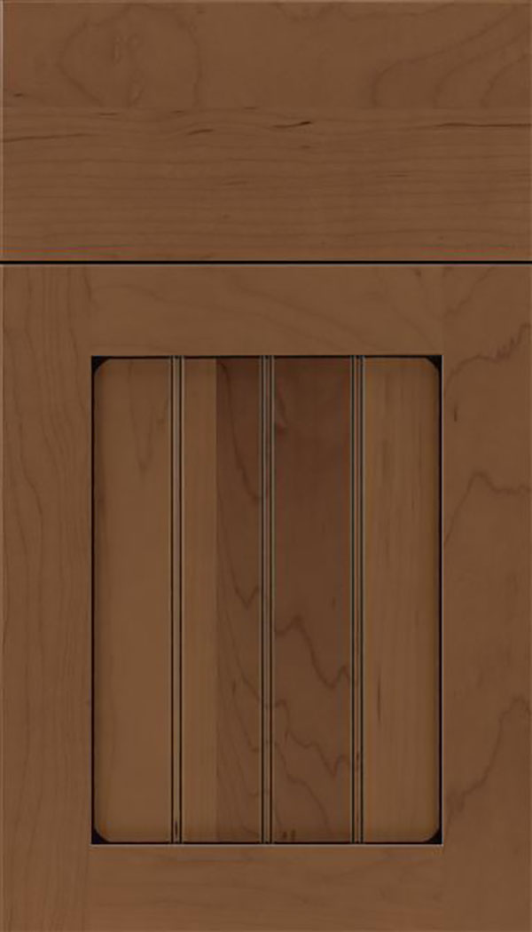 Winfield Maple beadboard cabinet door in Toffee with Black glaze