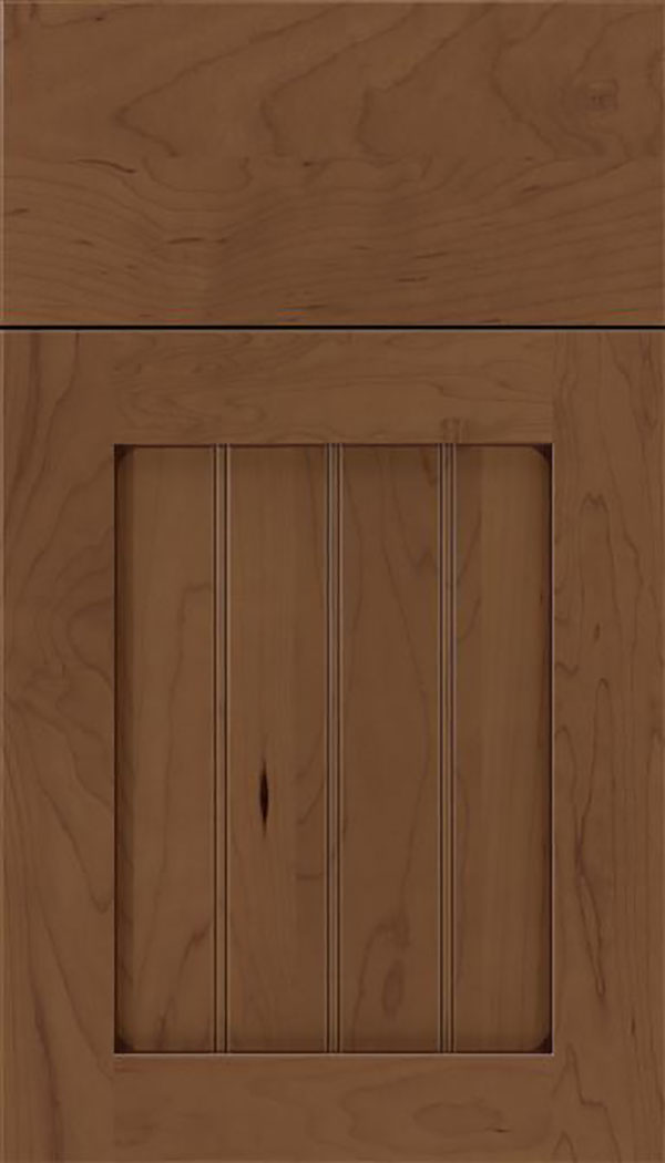 Winfield Maple beadboard cabinet door in Toffee with Mocha glaze
