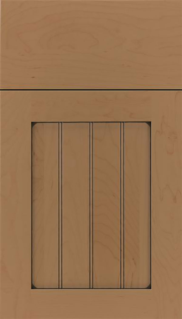 Winfield Maple beadboard cabinet door in Tuscan with Black glaze