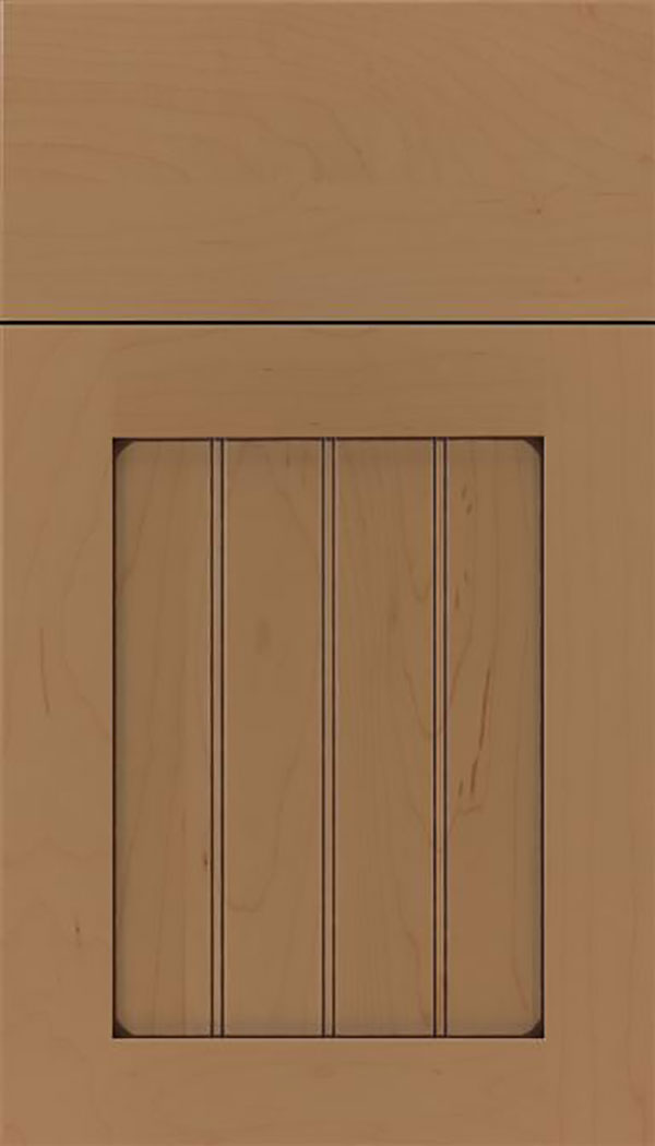 Winfield Maple beadboard cabinet door in Tuscan with Mocha glaze