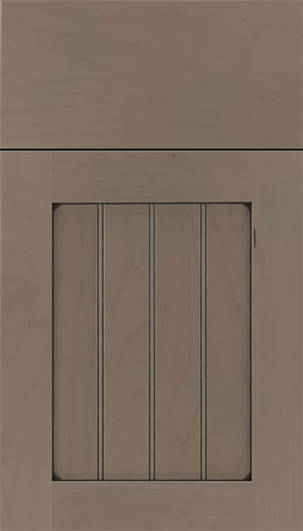 Winfield Maple beadboard cabinet door in Winter with Black glaze