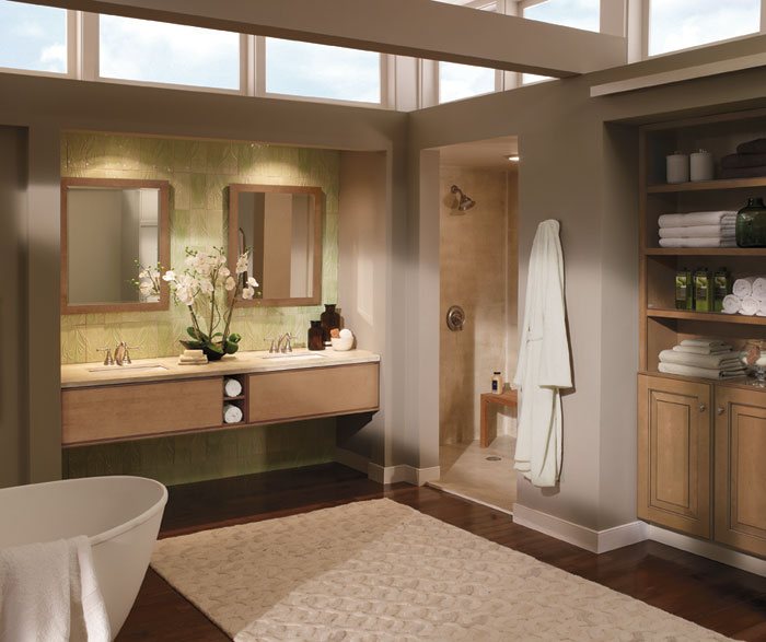 Merveilleux Light Maple Cabinets In Contemporary Bathroom By Kitchen Craft Cabinetry ...
