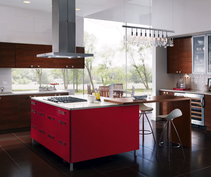 European Style Kitchen With Red Kitchen Cabinets For Island Kitchen Craft  Cabinetry ...