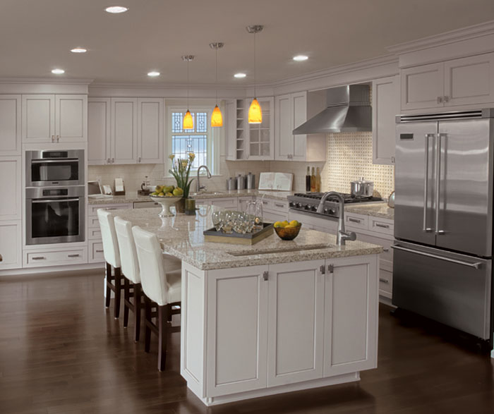 Painted kitchen cabinets in alabaster by Kitchen Craft Cabinetry ...