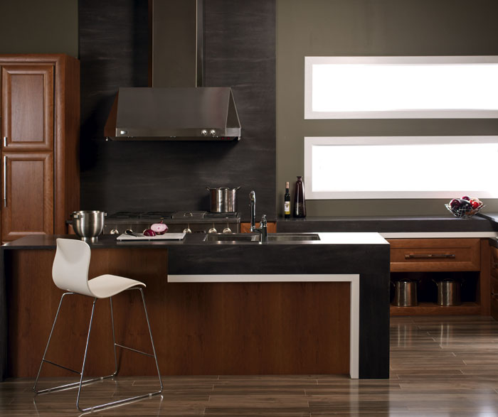 Contemporary Kitchen With Cherry Cabinets Kitchen Craft Cabinetry