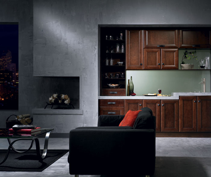 Maple Cabinets In Contemporary Bar Area By Kitchen Craft Cabinetry ...