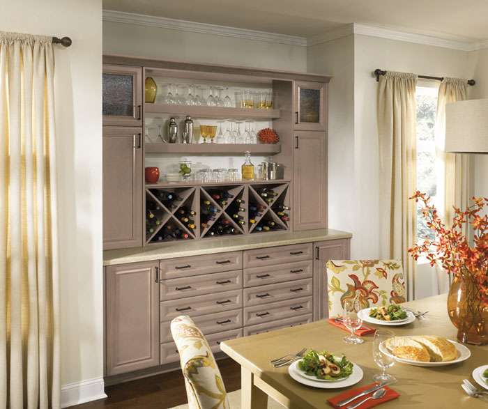 Dining Room Cabinets In Light Grey Finish By Kitchen Craft Cabinetry