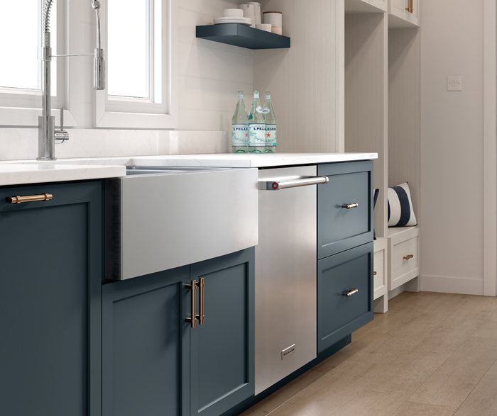 Casual Coastal Blue and Wood Grain Kitchen