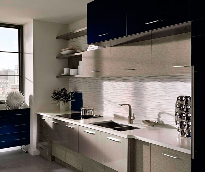 Acrylic Kitchen Cabinets with Melamine Accents