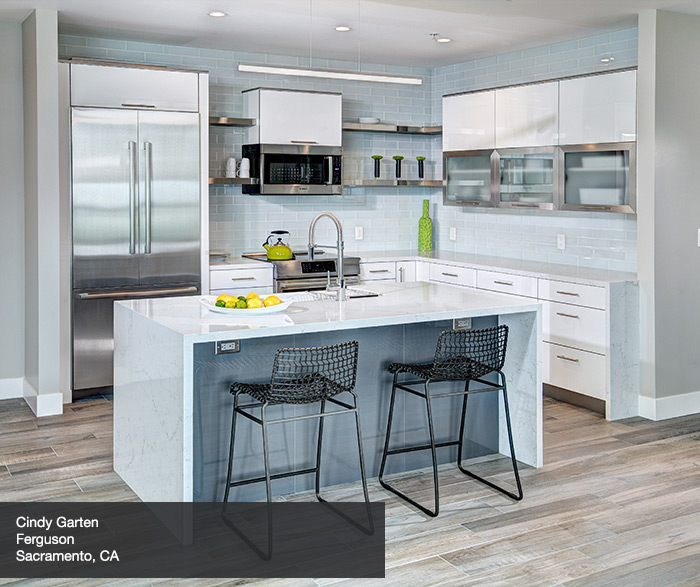 Contemporary Acrylic Kitchen Cabinets in Glacial Finish