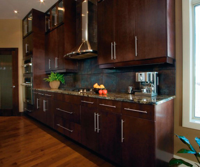 Modern kitchen cabinets in espresso finish by Kitchen Craft Cabinetry