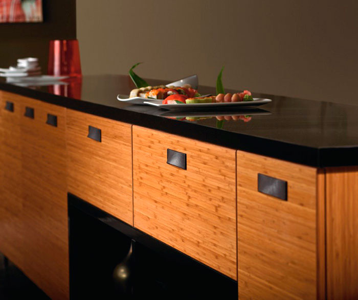 Bamboo kitchen cabinets in natural finish by Kitchen Craft Cabinetry