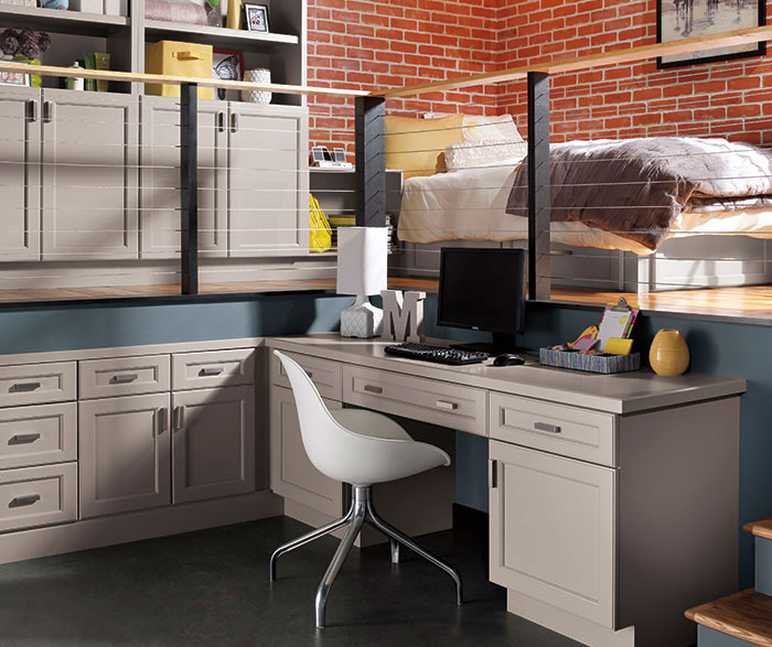 Awesome Gray Cabinets In Casual Office By Kitchen Craft Cabinetry ...