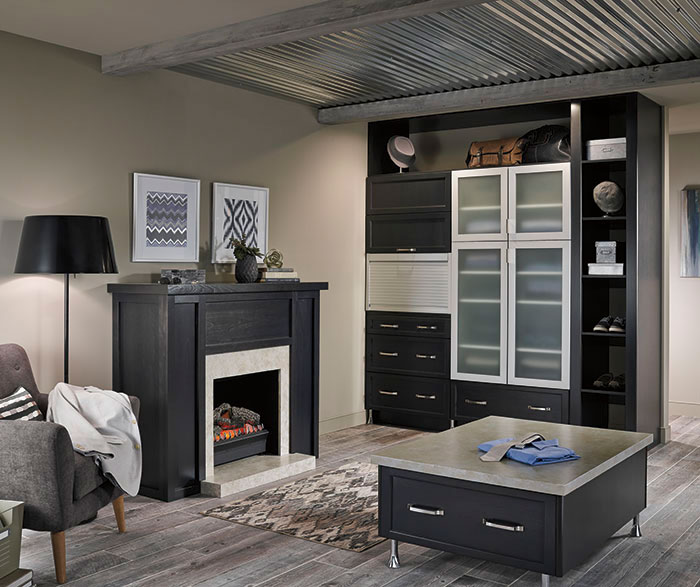 dark gray cabinets in a casual bathroom by kitchen craft cabinetry     metal appliance garage   kitchen craft cabinetry  rh   kitchencraft com