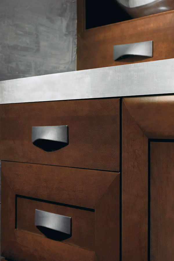 Convex Black Leather Cabinet Pull - Kitchen Craft