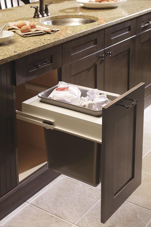 Base wastebasket cabinet with single bin kitchen craft for Single kitchen cabinet