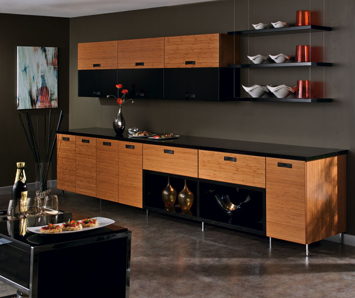 Natural Bamboo Cabinet Finish - Kitchen Craft Cabinetry