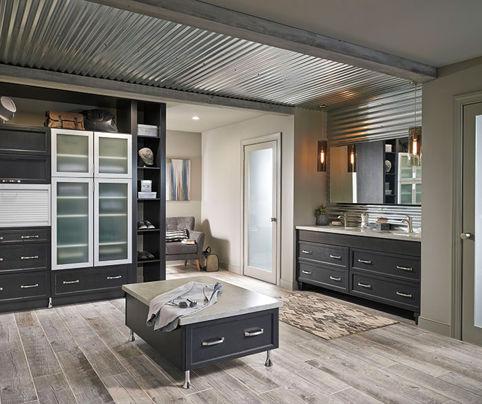 Dark Gray Cabinets in Casual Bathroom