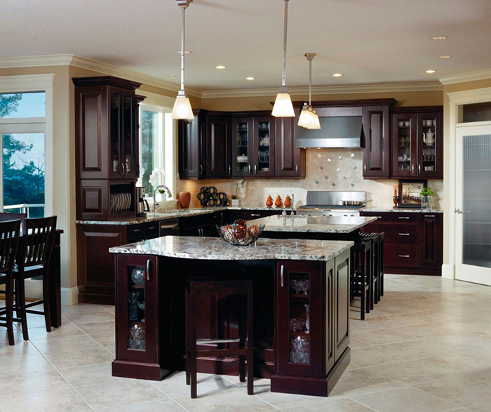 Traditional espresso kitchen cabinets by Kitchen Craft Cabinetry