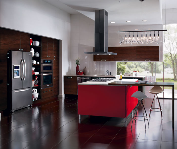 European style kitchen with red kitchen cabinets for island Kitchen Craft Cabinetry