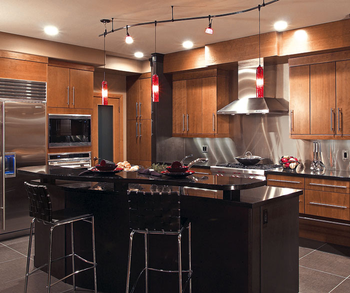 Contemporary cherry kitchen cabinets by Kitchen Craft Cabinetry