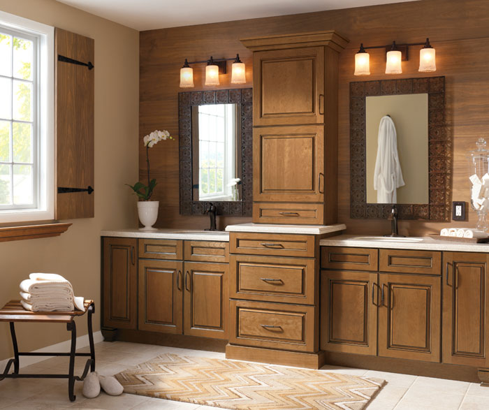 Glazed cabinets in casual bathroom by Kitchen Craft Cabinetry