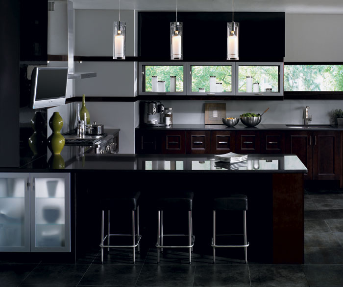 Contemporary kitchen cabinets in espresso finish by Kitchen Craft cabinetry